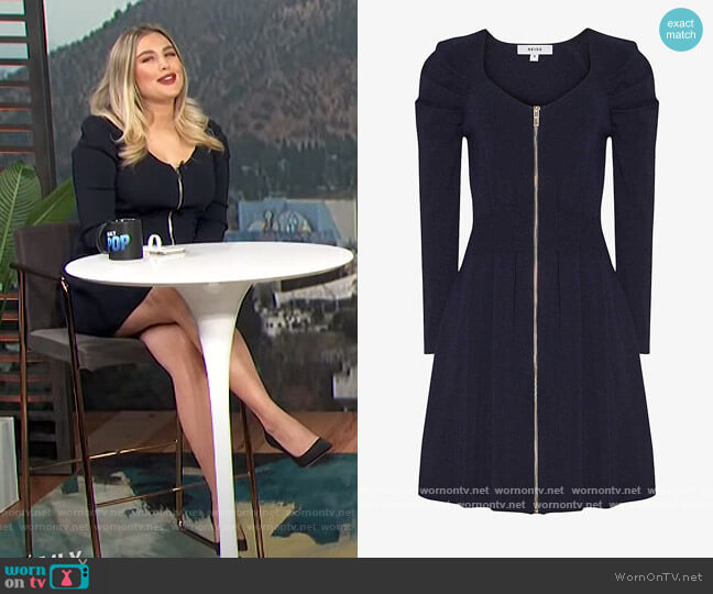 McKenzie zip-front stretch-knit mini dress by Reiss worn by Carissa Loethen Culiner  on E! News