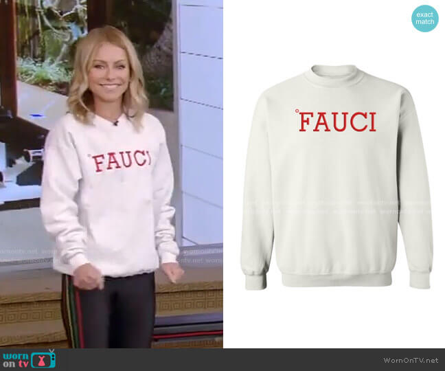Fauci Sweatshirt by Resttee worn by Kelly Ripa  on Live with Kelly & Ryan