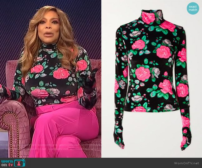 Floral-print velvet turtleneck top by Richard Quinn worn by Wendy Williams  on The Wendy Williams Show