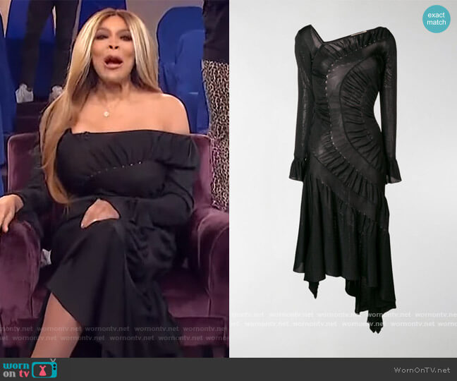 Asymmetric Midi Dress by Roberto Cavalli worn by Wendy Williams  on The Wendy Williams Show
