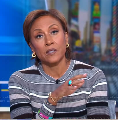 Robin's grey striped sweater on Good Morning America