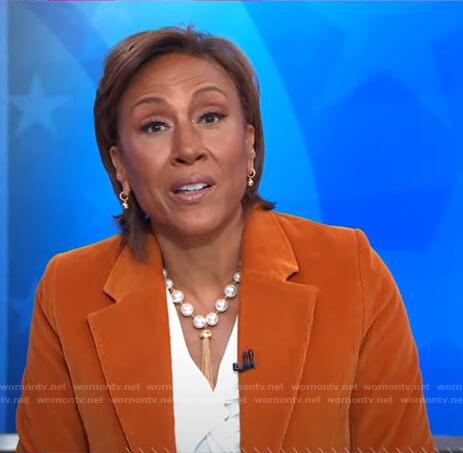 Robin's orange corduroy blazer on Good Morning America