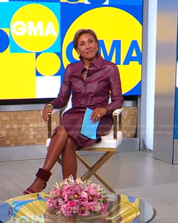 Robin's burgundy leather shirtdress on Good Morning America