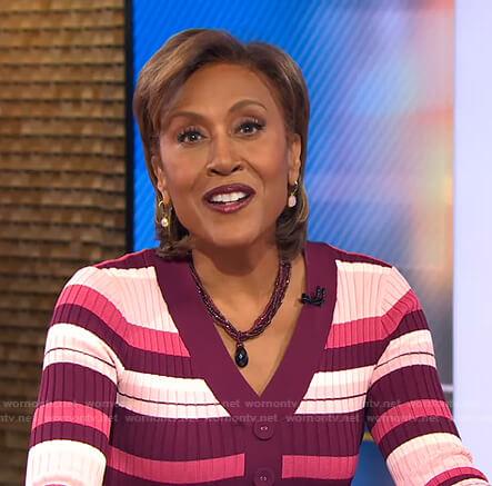 Robin's pink striped v-neck dress on Good Morning America