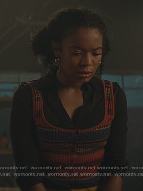 Ros's stripe knit tank top on Chilling Adventures of Sabrina