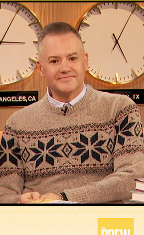 Ross's beige fair isle sweater on The Drew Barrymore Show