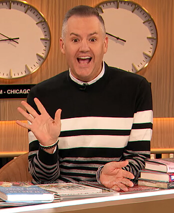 Ross Mathew's black and white stripe sweater on The Drew Barrymore Show