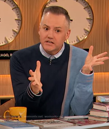 Ross Mathews blue two tone sweater on The Drew Barrymore Show