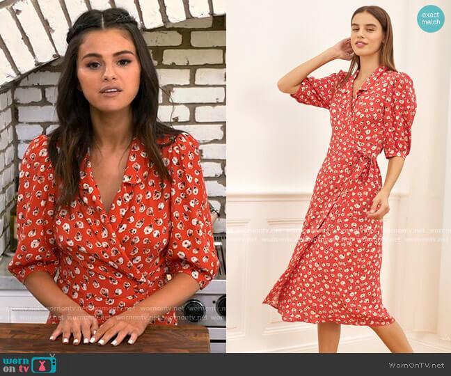 Rouje Louisa Dress in Mamie Rose Rouge worn by Selena Gomez  on Selena + Chef