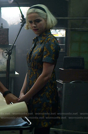 Sabrina's rabbit print dress on Chilling Adventures of Sabrina