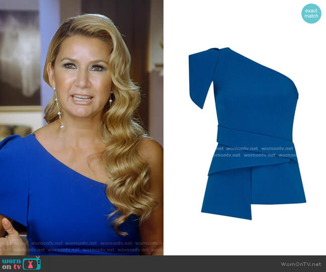 Tanisha Draped Crepe One-Shoulder Top by Safiyaa worn by Kary Brittingham  on The Real Housewives of Dallas