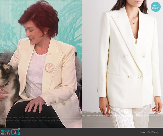 Double-breasted wool-twill blazer by Saint Laurent worn by Sharon Osbourne  on The Talk