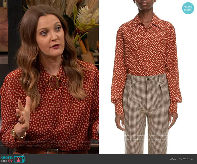 Polka-dot silk crepe de chine shirt by Saint Laurent worn by Drew Barrymore  on The Drew Barrymore Show
