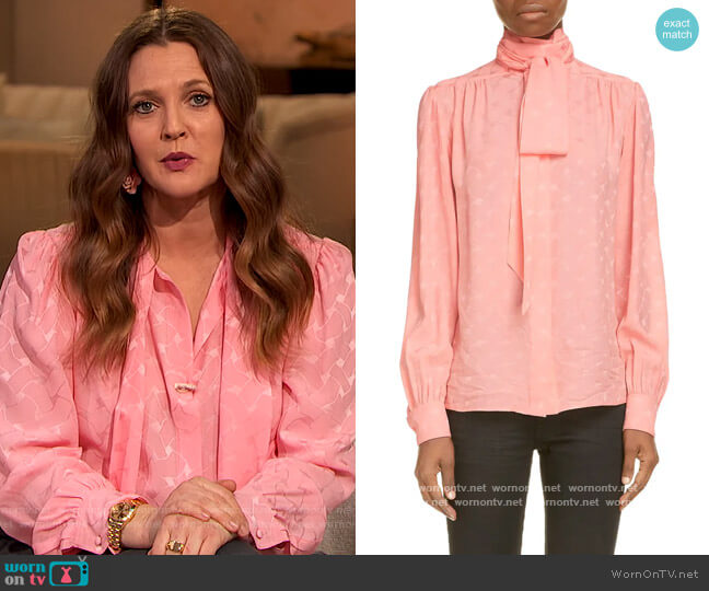 Tie Neck Print Silk Blouse by Saint Laurent worn by Drew Barrymore  on The Drew Barrymore Show