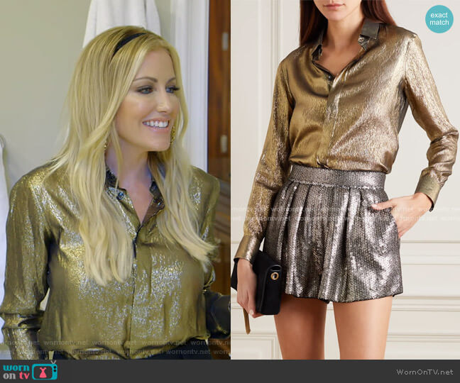 Metallic Silk and Lurex-Blend Blouse by Saint Laurent worn by Stephanie Hollman  on The Real Housewives of Dallas