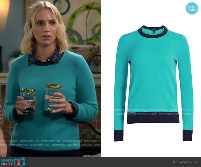 Saks Fifth Avenue COLLECTION Contrast Cashmere Sweater worn by Mandy Baxter (Molly McCook) on Last Man Standing