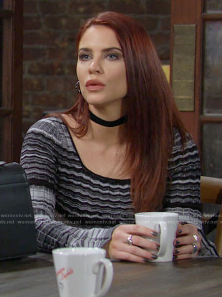 Sally's black and white chevron striped top on The Young and the Restless