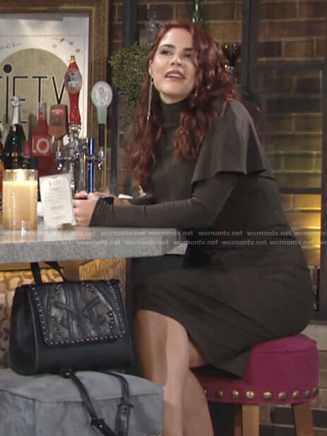 Sally's green overlay turtleneck dress on The Young and the Restless