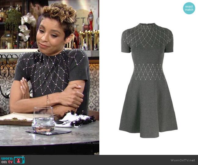 Sandro short stud-embellished dress worn by Elena Dawson (Brytni Sarpy) on The Young & the Restless