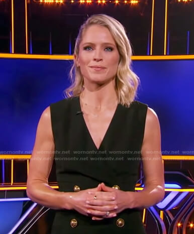 Sara's black double breasted sleeveless dress on The Chase