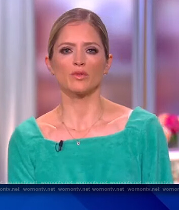 Sara's green square neck jumpsuit on The View