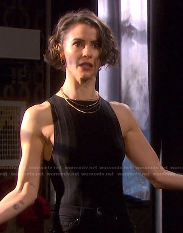 Sarah's black ribbed sleeveless top on Days of our Lives