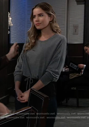 Sasha's gray sweatshirt with drawstring waist on General Hospital