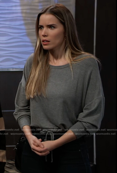 Sasha's gray sweatshirt with drawstring waist on General Hospital