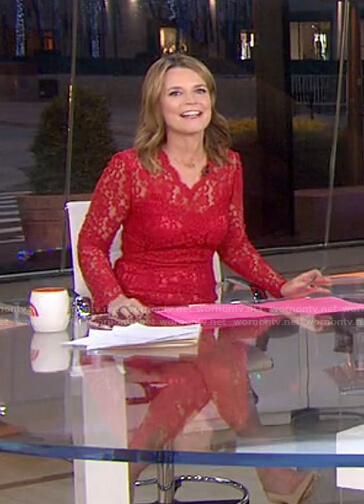 Savannah's red lace dress on Today
