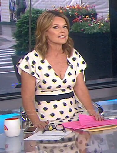 Savannah's white printed flutter sleeve dress on Today