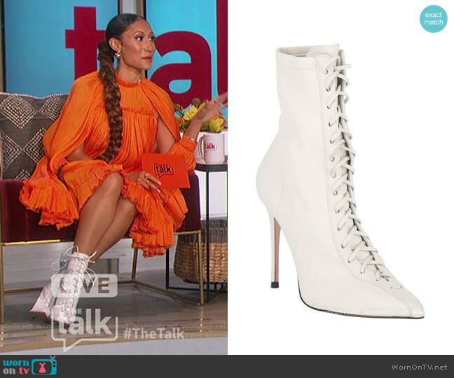 Tennie Lace-Up Leather Boots by Schutz worn by Elaine Welteroth  on The Talk