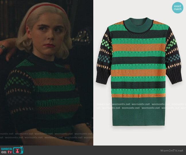 Mixed Sweater by Scotch & Soda worn by Sabrina Spellman (Kiernan Shipka) on Chilling Adventures of Sabrina
