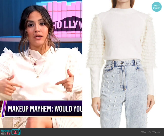 Princess Textured Puff-Sleeve Sweater by SEA worn by Erin Lim  on E! News