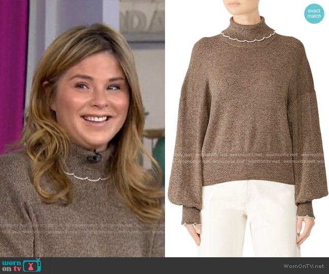 Chestnut Turtleneck Sweater by See by Chloe worn by Jenna Bush Hager  on Today