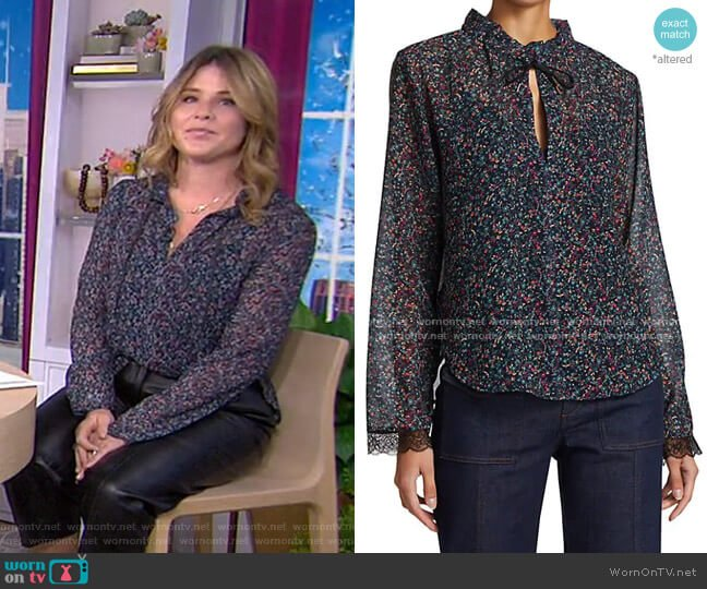 Floral Haze Georgette Tie-Neck Blouse by See by Chloe worn by Jenna Bush Hager  on Today