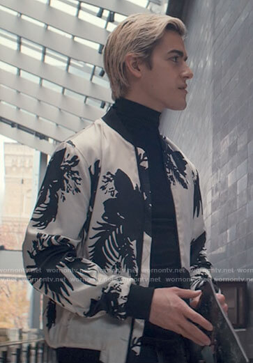 Shane's black and white floral bomber jacket on Tiny Pretty Things