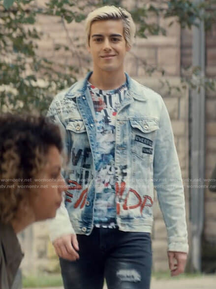 Shane's graffiti print denim jacket on Tiny Pretty Things