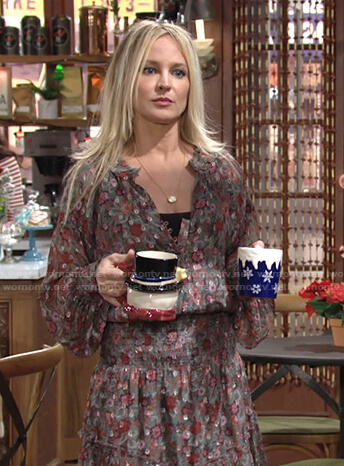 Sharon's floral smocked dress on The Young and the Restless
