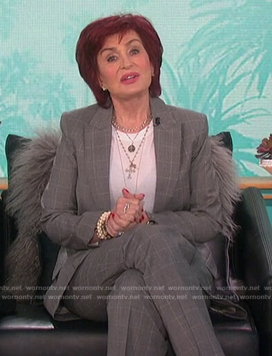 Sharon's gray check blazer and pants on The Talk
