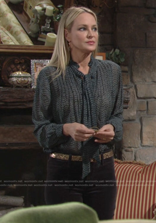Sharon's green printed tie neck blouse on The Young and the Restless
