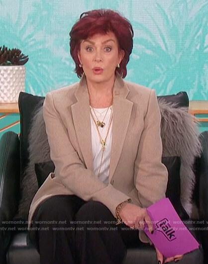 Sharon's beige blazer with pockets on The Talk