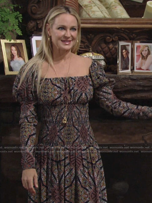 Sharon's printed square neck puff-sleeve dress on The Young and the Restless