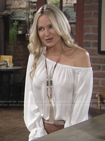Sharon's white one shoulder blouse on The Young and the Restless