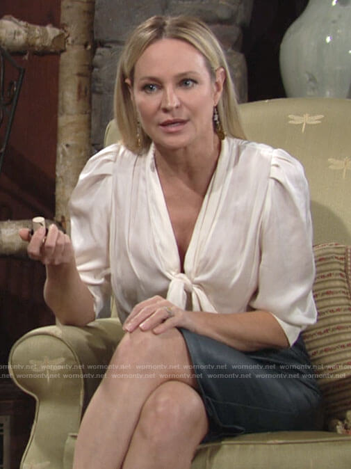 Sharon's white tie-neck blouse on The Young and the Restless