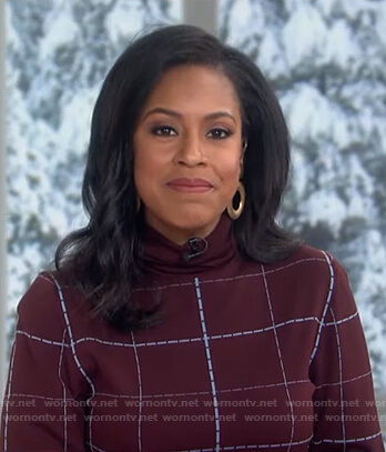 Sheinelle's burgundy checked sweater on Today