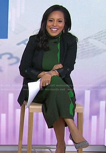 Sheinelle's green turtleneck dress on Today