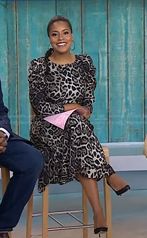 Sheinelle's leopard print puff sleeve dress on Today