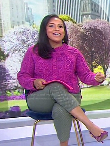 Sheinelle's pink cable knit sweater on Today