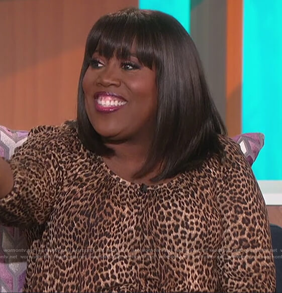 Sheryl's leopard print top on The Talk