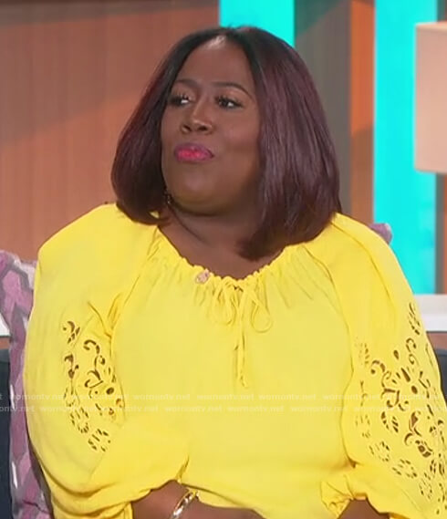 Sheryl's yellow eyelet top on The Talk